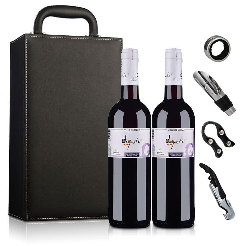 【礼盒】西班牙红酒西班牙德古斯特干红葡萄酒(双支皮盒套装)750ml*2