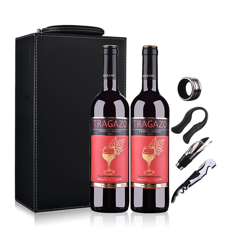 【酒仙自营】西班牙红酒(原瓶进口)醉爱干红葡萄酒750ml*2(双支皮盒套装)