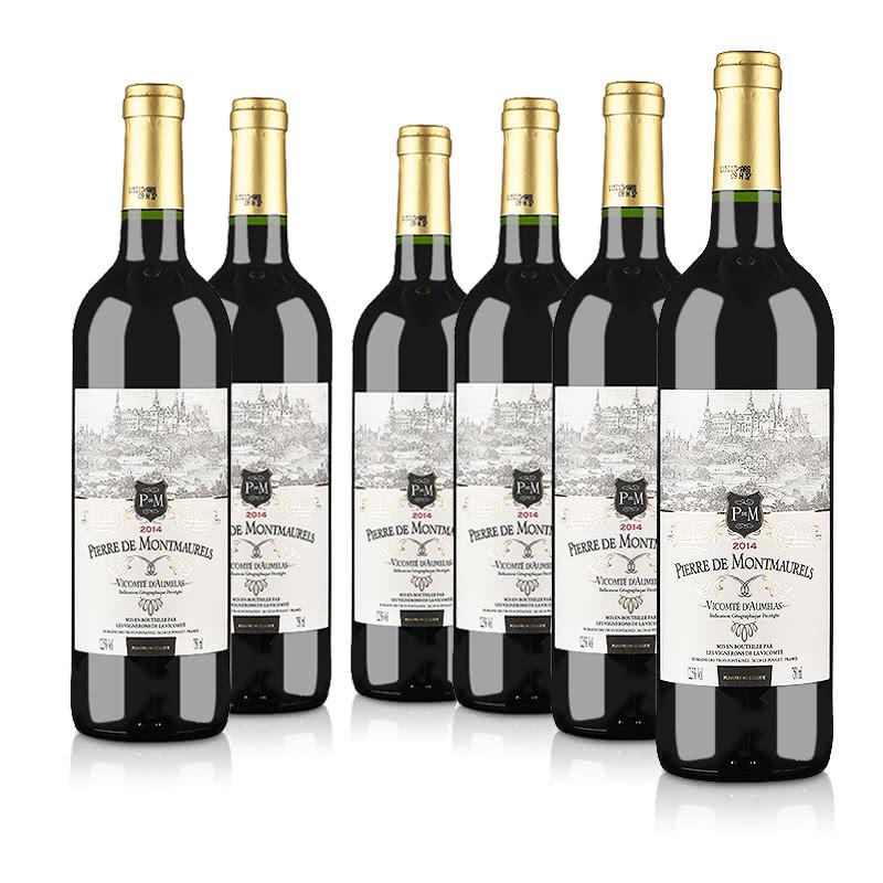 法国整箱红酒法国原瓶进口莫蕾尔干红葡萄酒750ml(6瓶装)