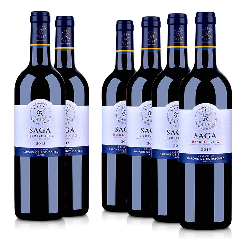 法国整箱红酒法国拉菲传说 2015 波尔多法定产区红葡萄酒750ml(6瓶装)