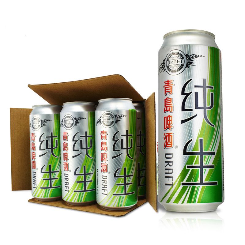 青岛(TsingTao)啤酒纯生8度500ml*12听 (整箱装)