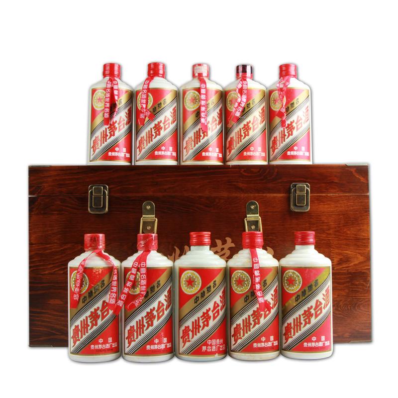 【老酒特卖】53°茅台酒10瓶木质礼盒套装(1990-1999年)