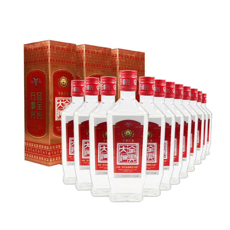 【老酒特卖】52°红盖全兴大曲500ml(12瓶装)(90年代)