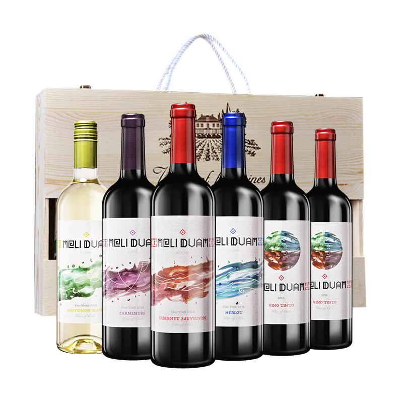 智利魅利缤纷葡萄酒6支木盒套装