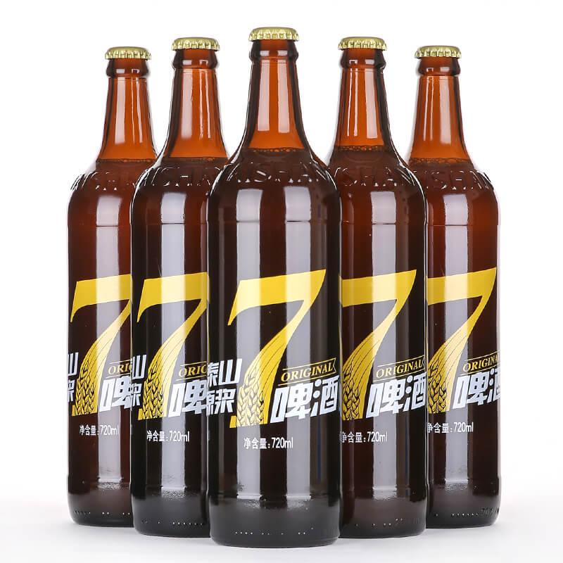 泰山原浆啤酒 七天新鲜 8度麦芽 720ML经典深棕色瓶 原浆白啤 小麦啤 精酿 正品6瓶
