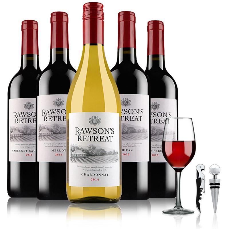 澳大利亚原瓶进口红酒 奔富洛神山庄干白干红葡萄酒组合酒具装(5支装)