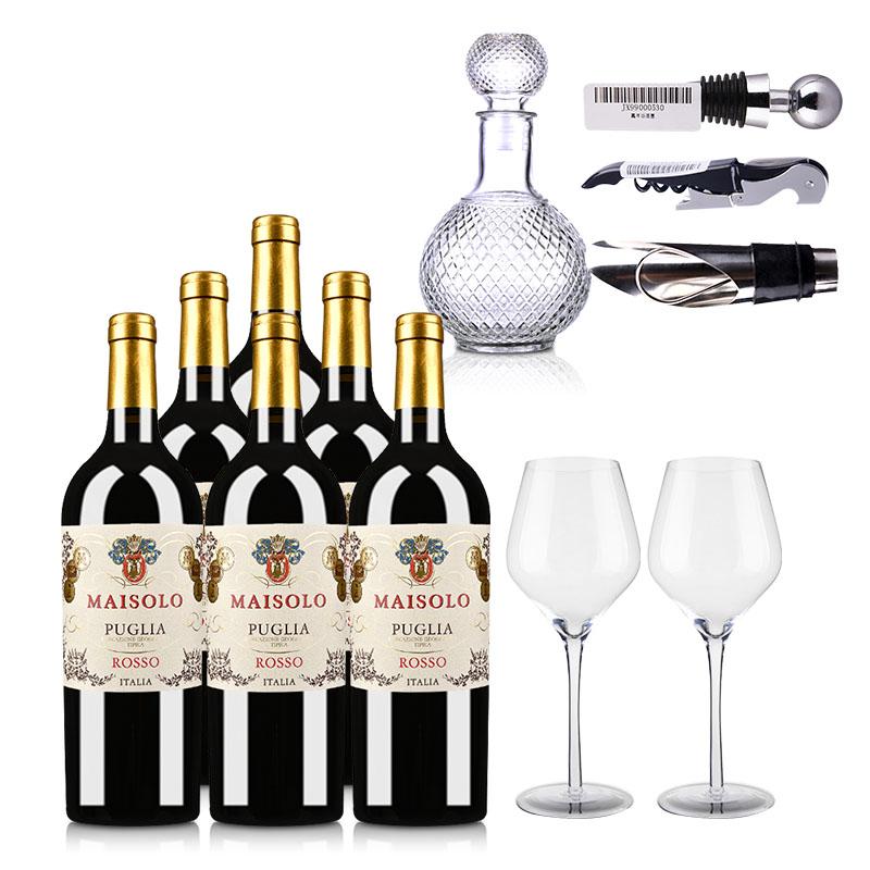 【酒仙自营】意大利圣霞多·麦索罗干红葡萄酒750ml (普利亚地理标志保护葡萄酒)*6瓶+精美酒具6件套